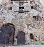 Broken medieval building in old Riga, Latvia Stock Photo