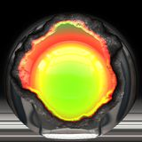 Broken metal sphere. Illustration of Metallic ball with hot green nucleus Royalty Free Stock Images