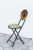 Broken Metal Wood Chair on Brick Floor Stock Photography