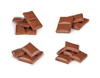 Broken milk chocolate bar set Stock Photography
