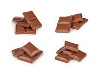 Broken milk chocolate bar set Stock Photography