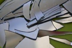 Broken mirror. In small pieces Stock Photo