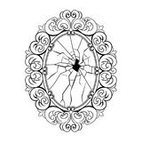Broken mirror coloring book vector royalty free illustration