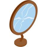 Broken mirror icon, isometric 3d style Stock Photo