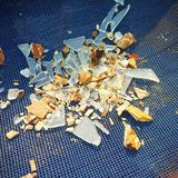 Broken mirror with little stones royalty free stock images