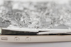 Broken mobile device. Touch screen mobile phone with broken screen Royalty Free Stock Image