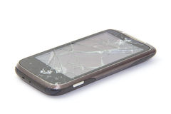 Broken mobile. Isolated on white background Stock Photo