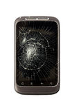 Broken Mobile Phone. With a cracked screen and scuffed case on isolated white background stock photography