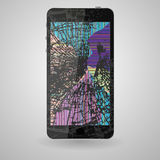 Broken mobile phone, on a gray background  Royalty Free Stock Photos