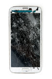 Broken mobile phone. Isolated on white background royalty free stock photography