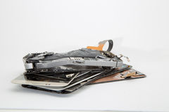 Broken mobile phone. Parts and components royalty free stock photography