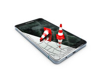 Broken mobile phone, repair phone concept, 3d Illustration isolated white.  Stock Photography