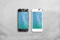 Broken mobile phone screen, black, white, clipping path. stock images