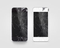 Broken mobile phone screen, black, white, clipping path. Smartphone monitor damage mock up. Cellphone crash and scratch. Telephone display glass hit. Device royalty free stock image