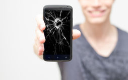Broken mobile phone screen Stock Images