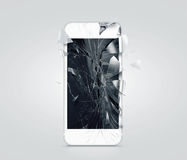 Broken mobile phone screen, scattered shards Royalty Free Stock Images