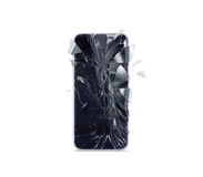 Broken mobile phone screen, scattered shards royalty free illustration