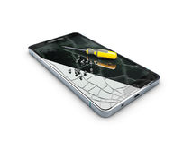 Broken mobile phone with Screwdriver on the creen, repair phone concept, 3d Illustration isolated white.  Royalty Free Stock Image