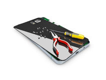 Broken mobile phone with Screwdriver and pliers on the creen, 3d Illustration.  Royalty Free Stock Photography