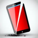 Broken mobile phone - Vector Illustration Stock Photo