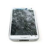 Broken mobile phone. On white background stock photos