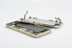 Broken of mobile phone. On white screen royalty free stock images