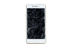 Broken mobile screen. Broken mobile screen isolated on white background stock image