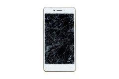 Broken mobile screen. Broken mobile screen isolated on white background stock image