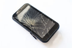 Broken mobile screen. On white background stock photo