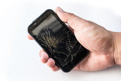 Broken mobile screen. On white background royalty free stock images