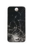 Broken mobile screen. On white background stock photography