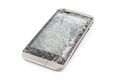 Broken mobile smart phone. Isolated on white. Royalty Free Stock Photos