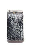 Broken mobile smart phone. Isolated on white. Royalty Free Stock Photography