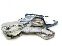 Broken mobile telephone. Royalty Free Stock Images