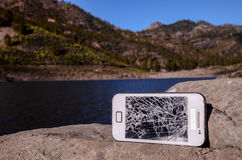 Broken Modern White Smartphone Royalty Free Stock Photos