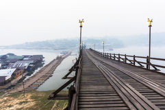 Broken Mon Bridge in Misty Morning Stock Photo
