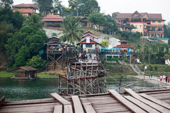 The broken mon bridge of  sangkhlaburi, kanchanaburi Stock Photo