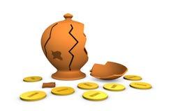 Broken money box. One broken money box with coins around it (3d render Stock Images