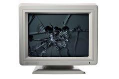 Broken monitor. Vintage computer monitor glass broken Royalty Free Stock Photo