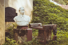 The broken monument to Maxim Gorky on Fort Krasnaya Gorka. KRASNAYA GORKA, RUSSIA - AUGUST 23, 2014: The broken monument to Maxim Gorky about Abandoned Royalty Free Stock Photos
