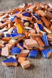 Broken mosaic tiles. Broken tiles for a mosaic arts and crafts project Royalty Free Stock Images