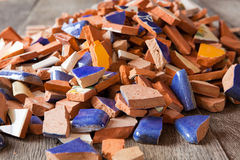 Broken mosaic tiles. Broken tiles for a mosaic arts and crafts project Royalty Free Stock Image