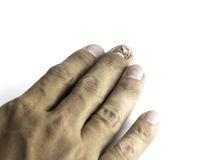 Broken nail on white background Royalty Free Stock Image