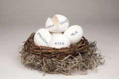 Broken Nest Egg White Stock Images