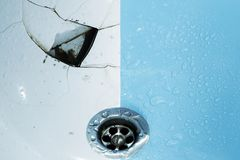 Broken and new sink royalty free stock image