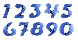 Broken numbers. Blue Broken numbers from 0 to 9 in 3d. can be isolated easy to compose Royalty Free Stock Images