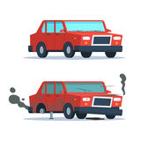 Broken and okay car. Car sedan vehicle before and after car crash road accident. Wrecked and okay vehicle. Broken and new car. Vector trendy flat cartoon design Stock Images