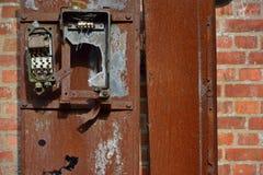 broken old ancient rotten metal electrical fuse box  broken old ancient  rotten, made in