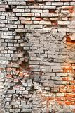 Broken Old Bricklaying From Red White Bricks And Damaged Plaster Stock Photo