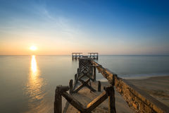 Broken old bridge in the morning. Sunrise how beautiful Royalty Free Stock Image